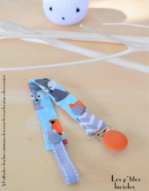 """Lpl - Attache doudine """"Les Animaux"""" Les Renards - Rond Orange - Gris"""