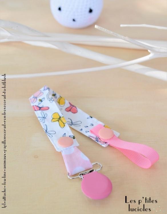 """Lpl - Attache doudine """"Les Animaux"""" Les papillons corail - Rond rose-corail"""
