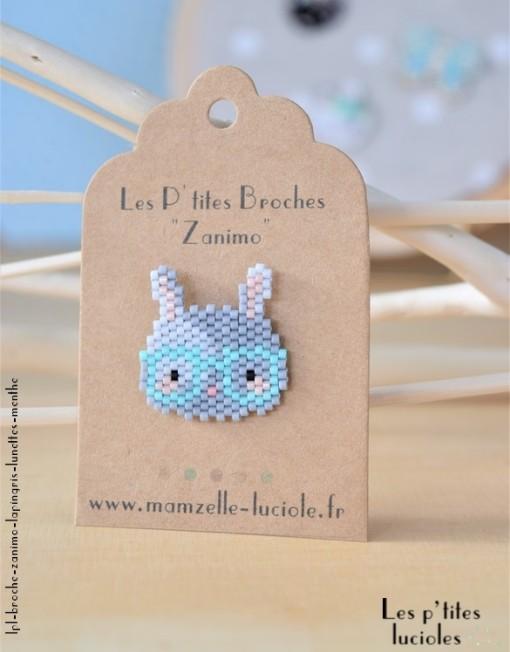 """lpl - Broche""""Zanimo"""" Le Lapin Gris - Lunettes Menthe"""