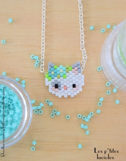 "lpl - Collier ""Zanimo"" Le Chat Blanc - Menthe turquoise"