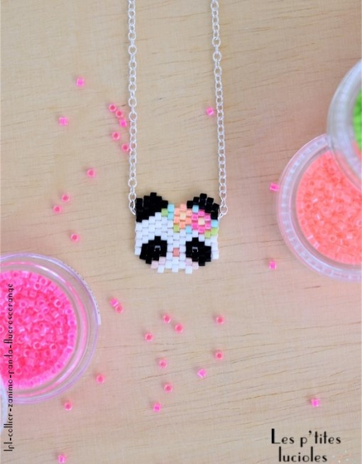 "lpl - Collier ""Zanimo"" Le Panda - Fluo Rose-orange"