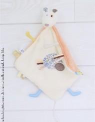 """Lpl - Doudou """"Les Ptits Zamis"""" La Souris Vanille-caramel et D'anjo bleu"""