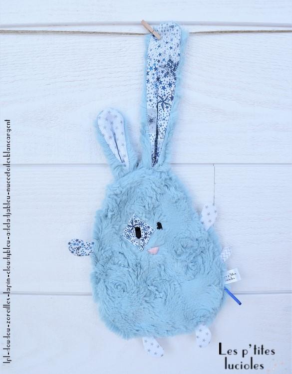 "lpl - Doudou ""Zoreilles"" Lapin Cloudy Bleu - Adeladja bleu et Nuée d'étoiles blanc-argent"