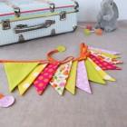"""lpl-Guirlande Fanions La Mini """"Fleurs vintage"""" Rose-jaune-anis"""
