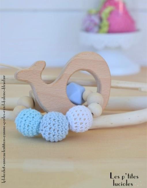 "lpl - Hochet-Anneau de dentition - ""Zanimo perles"" - Rond - Baleine Bleu clair"