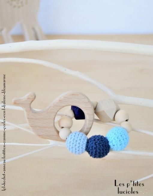 "lpl - Hochet-Anneau de dentition - ""Zanimo perles"" - Rond - Baleine Bleu marine"