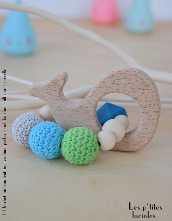 "lpl - Hochet-Anneau de dentition - ""Zanimo perles"" Rond - Baleine Multico Anis-sarcelle"