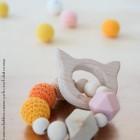 "lpl - Hochet-Anneau de dentition - ""Zanimo perles"" - Rond - Chat Orange"