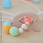 """lpl - Hochet-Anneau de dentition - """"Zanimo perles"""" Rond - Éléphant Multico abricot"""