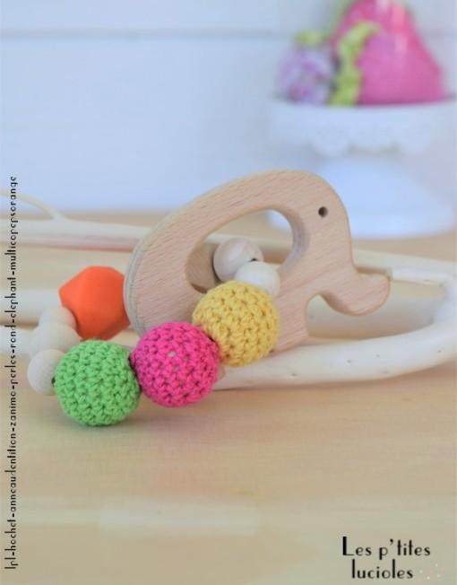 "lpl - Hochet-Anneau de dentition - ""Zanimo perles"" - Rond - Elephant Multico pep's orange"