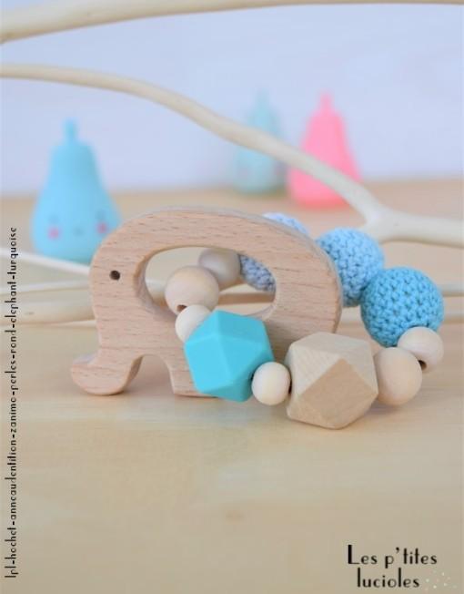 """lpl - Hochet-Anneau de dentition - """"Zanimo perles"""" - Rond - Elephant Turquoise"""