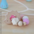 """lpl - Hochet-Anneau de dentition - """"Zanimo perles"""" Rond - Hérisson Rose bonbon"""