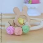 "lpl - Hochet-Anneau de dentition - ""Zanimo perles"" - Rond - Lapin Multico pastel jaune"