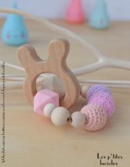 "lpl - Hochet-Anneau de dentition - ""Zanimo perles"" Rond - Lapin Pastel Rose-lilas"