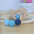 "lpl - Hochet-Anneau de dentition - ""Zanimo perles"" - Rond - Oiseau Bleu"