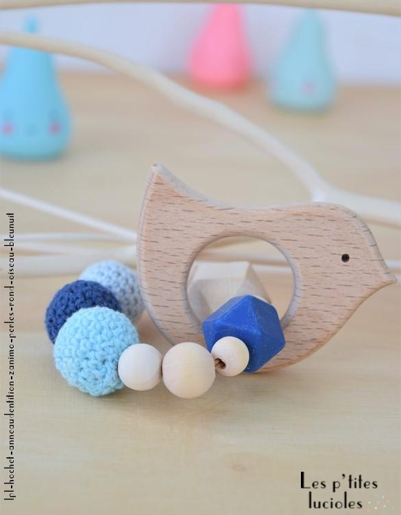 """lpl - Hochet-Anneau de dentition - """"Zanimo perles"""" Rond - Oiseau Bleu nuit"""