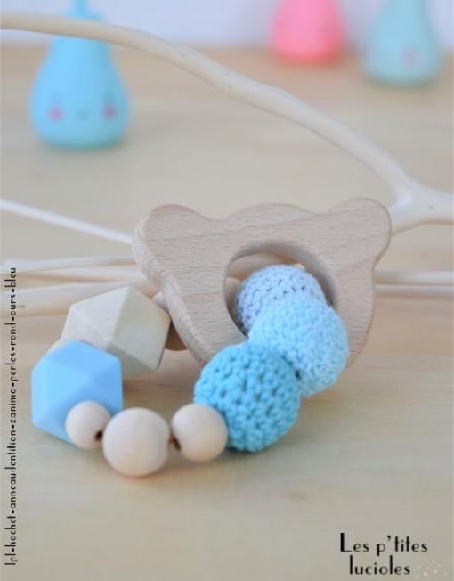 "lpl - Hochet-Anneau de dentition - ""Zanimo perles"" Rond - Ours Bleu"