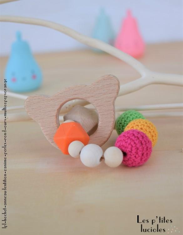 """lpl - Hochet-Anneau de dentition - """"Zanimo perles"""" - Rond - Ours Multico pep's orange"""