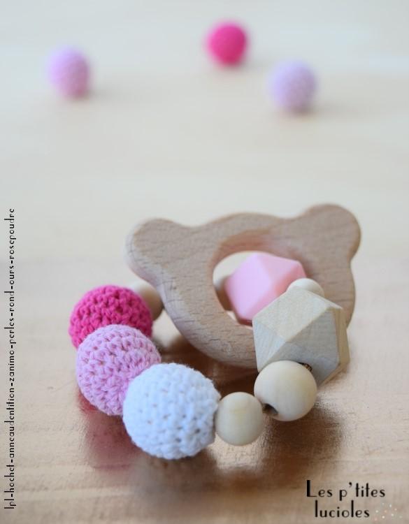 """lpl - Hochet-Anneau de dentition - """"Zanimo perles"""" - Rond - Ours Rose poudre"""