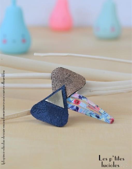"""lpl - Pince Clic-clac Les Cuir - """"Les Nœuds"""" Marine rosace-cuivre - Fleuri bleu"""