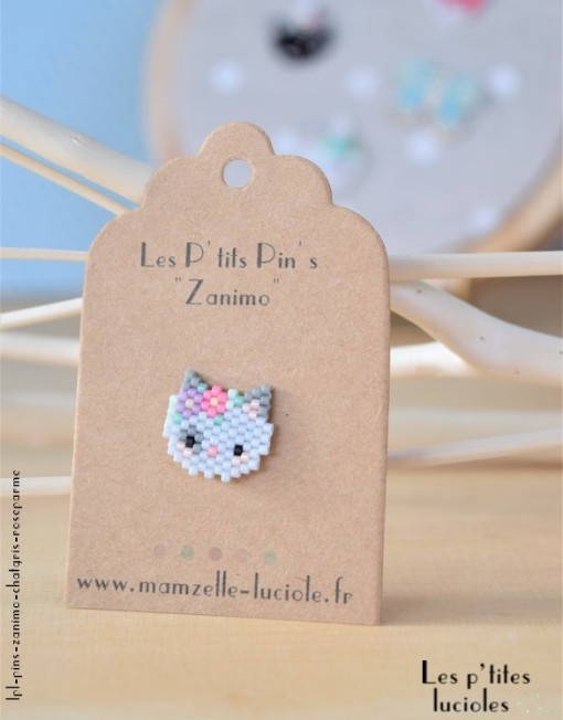 "lpl - Pin's ""Zanimo"" Le Chat Gris - Rose parme"
