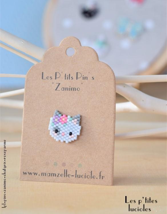 "lpl - Pin's ""Zanimo"" Le Chat Gris - Rose parme"