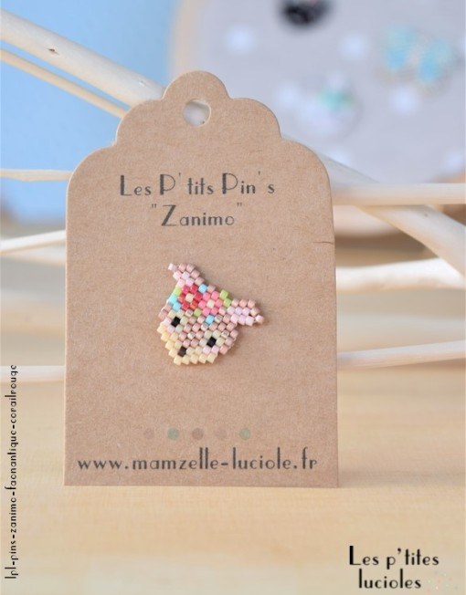 "lpl - Pin's ""Zanimo"" Le Faon Antique - Fluo corail-rouge"