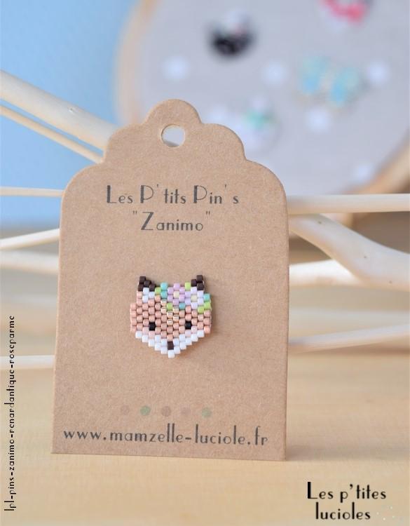 """lpl - Pin's """"Zanimo"""" Le Renard Antique - Rose parme"""