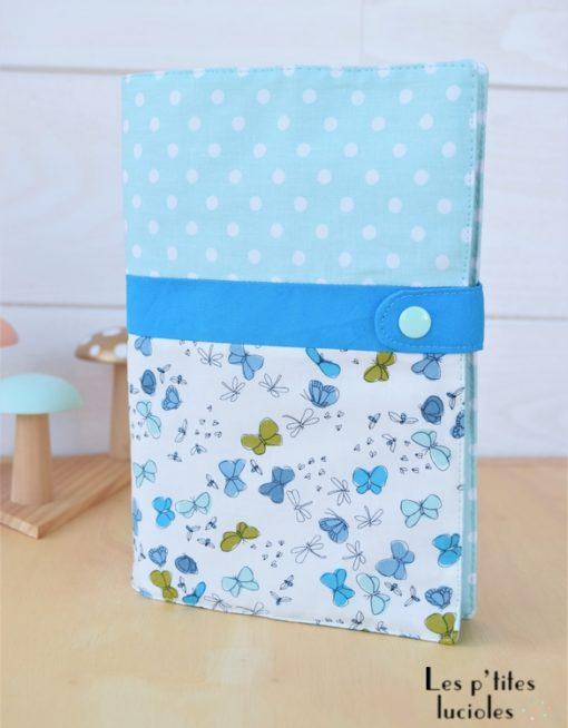 """Lpl - Protège-carnet de santé - Les Designers """"Les papillons bleus"""" Menthe-turquoise"""