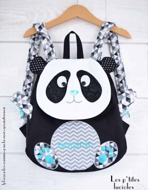 "lpl - Sac à dos Zanimo ""Roméo le Panda"" Noir, lagon"