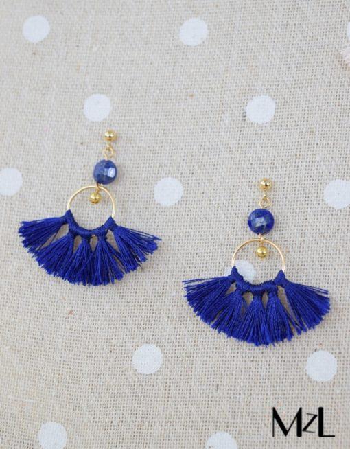 "MzL - Boucles d'oreilles ""Mila"" Or - Bleu roi"