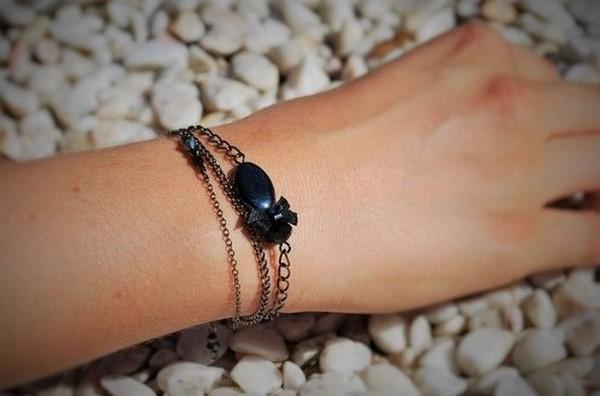 MzL - Bracelet black dentelle