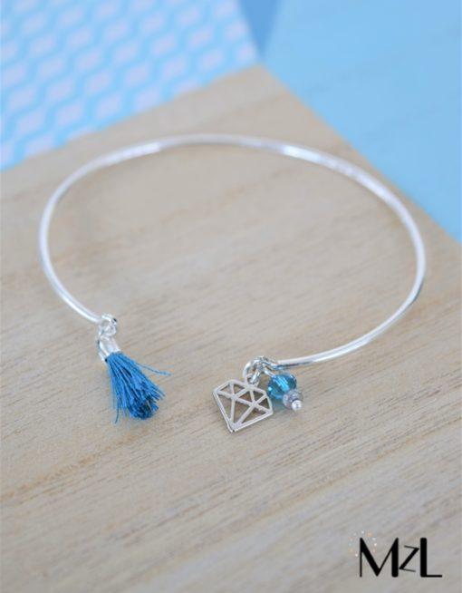 """MzL - Bracelet Jonc """"Lucien"""" Argent - sarcelle-diamant"""