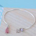"""MzL - Bracelet Jonc """"Lucien"""" Argent - vieux rose-diamant"""
