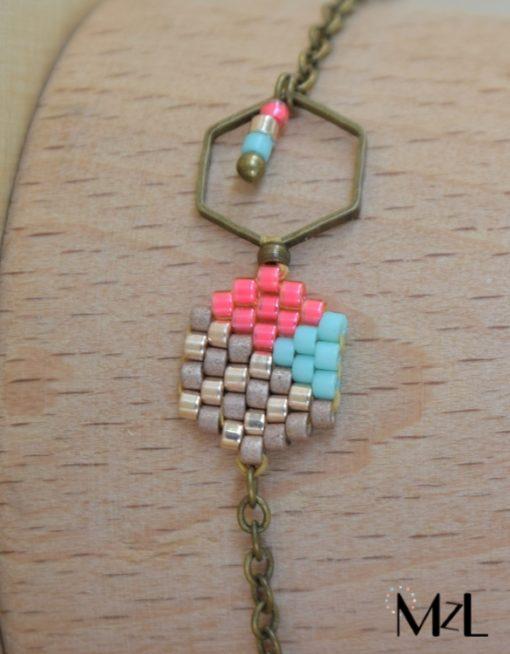 "MzL - Bracelet ""Malya"" Bronze-menthe-grenadine"
