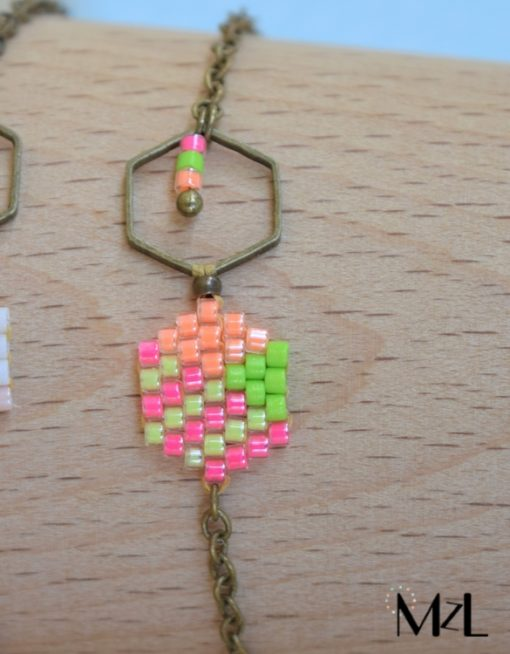 "MzL - Bracelet ""Malya"" Fuchsia-orange-anis"
