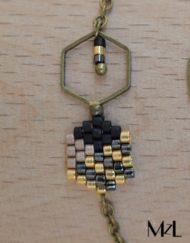 "MzL - Bracelet ""Malya"" Noir-doré-antique"