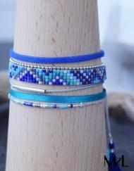 "MzL - Bracelet Multirangs ""Kimi"" Argent Bleu-sarcelle"