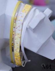 "MzL - Bracelet Multirangs ""Leia"" Argent Jaune-blanc"
