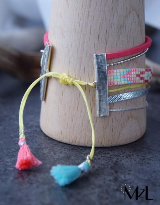 "MzL - Bracelet Multirangs ""Naya"" Argent Corail-jaune-menthe"