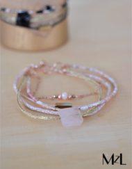 "MzL - Bracelet Multirangs""Oscar"" Or rose - Poudre"